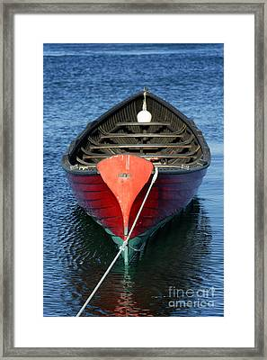 Wooden Rowboat Framed Print by John Greim