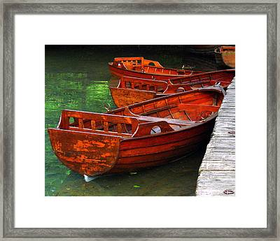 Framed Print featuring the photograph Wooden Rowboats by Ramona Johnston