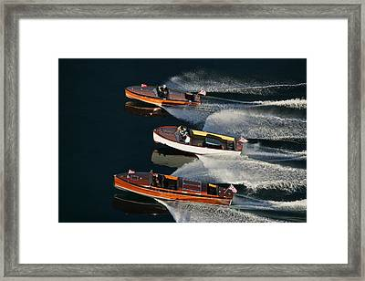 Wooden Runabouts On Lake Tahoe Framed Print by Steven Lapkin