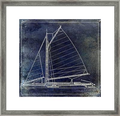 Wooden Sailboat Blue Framed Print by Jon Neidert