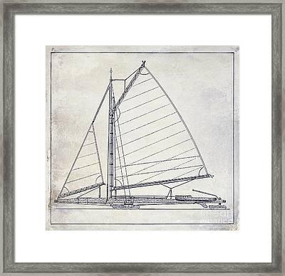 Wooden Sailboat  Framed Print by Jon Neidert