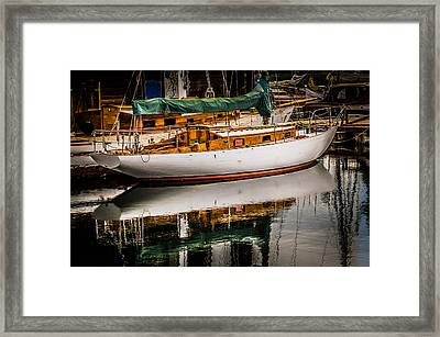 Wooden Sailboat Framed Print by Puget  Exposure