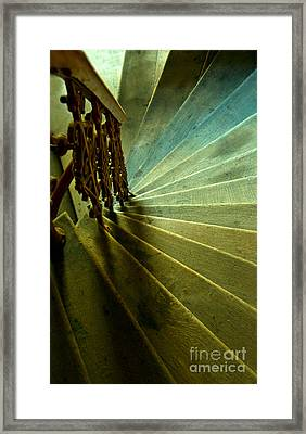Wooden Spiral Stairs In Green And Blue Framed Print