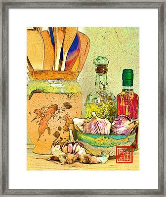 Wooden Spoons And Garlic II Framed Print