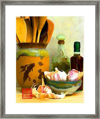 Wooden Spoons And Garlic IIi Framed Print
