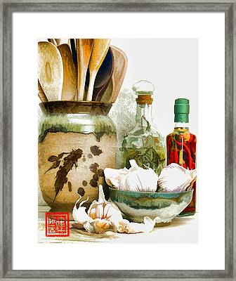 Wooden Spoons And Garlic Iv Framed Print