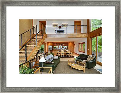 Wooden Staircase In Living Room Framed Print by Will Austin