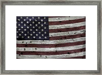 Wooden Textured Usa Flag3 Framed Print