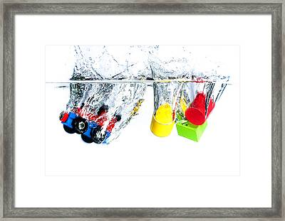 Wooden Toys In Water Framed Print