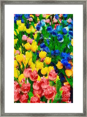 Wooden Tulips In Amsterdam Framed Print by George Atsametakis