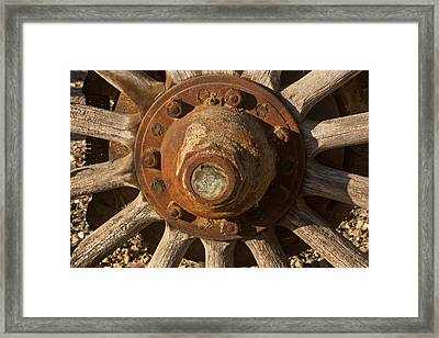 Wooden Wagon Wheel Framed Print