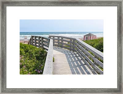 Wooden Walkway To Ocean Beach Framed Print