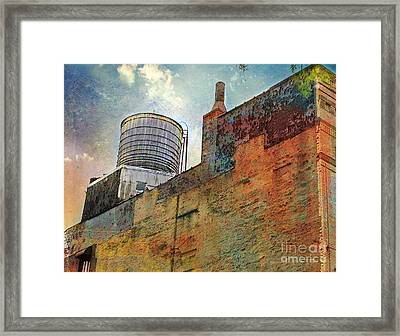 Wooden Water Tower New York City Roof Top Framed Print