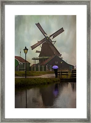 Wooden Windmill In Holland Framed Print by Juli Scalzi