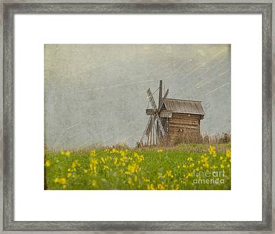 Old Wooden Windmill.  Kizhi Island.  Russia Framed Print