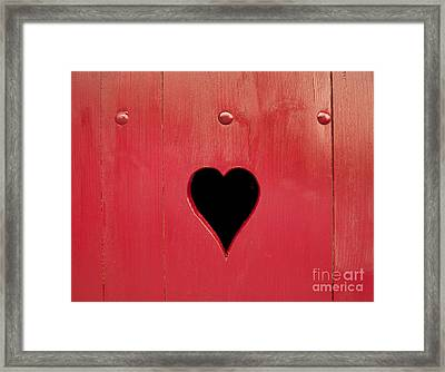 Wooden Window Shutter With A Heart-shaped Hole Framed Print by Bernard Jaubert