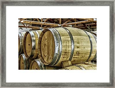 Wooden Wine Barrels Framed Print