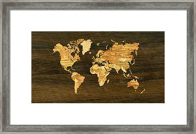Wooden World Map Framed Print by Hakon Soreide