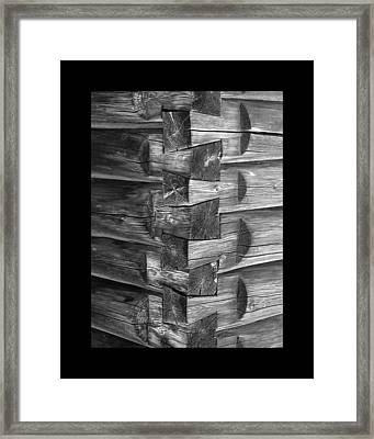 1875 Woodgrain Log Cabin Corner Study In  Black White Framed Print