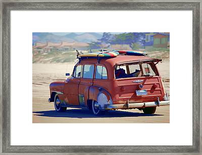 Woodie On The Beach Framed Print
