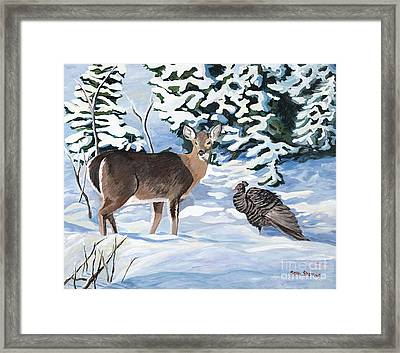 Woodland Creatures Meet Framed Print by Stella Sherman