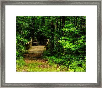 Woodland Foot Bridge Framed Print by Jon Woodhams