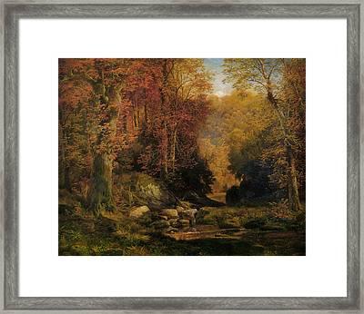Woodland Interior Framed Print by Thomas Moran