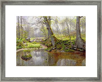 Woodland Pond Framed Print by Peder Monsted