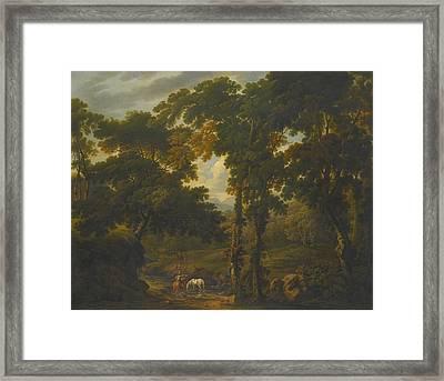 Woodland Scene With A Horseman Framed Print