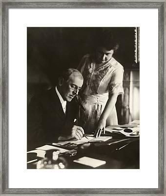 Woodrow And Edith Wilson Framed Print by Georgia Fowler