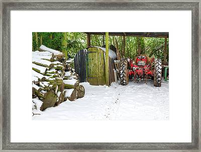 Woodshed In Winter Framed Print by David Birchall