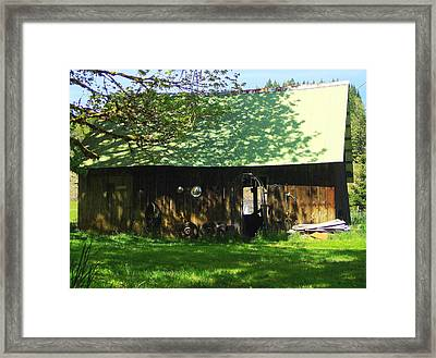 Woodshed Framed Print by Jeri lyn Chevalier