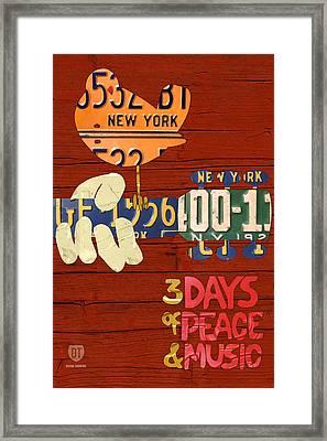 Woodstock Music Festival Poster License Plate Art Framed Print by Design Turnpike