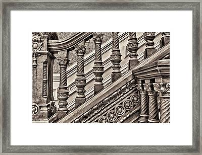 Woodwork On A Railing At The Tippecanoe Framed Print