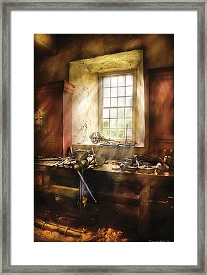 Woodworker - Many Old Tools Framed Print by Mike Savad