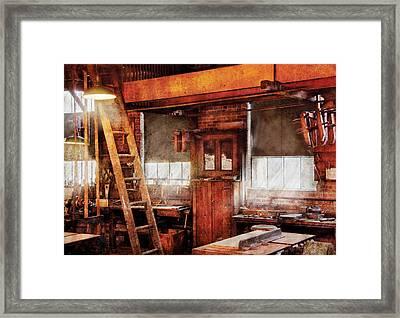 Woodworker - Old Workshop Framed Print by Mike Savad