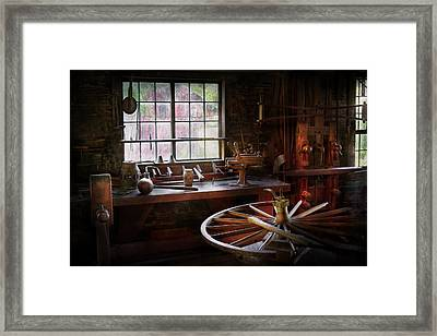 Woodworker - The Wheelwright Shop  Framed Print by Mike Savad