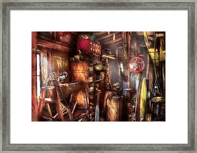Woodworker - The Workshop Of A Very Busy Person Framed Print by Mike Savad