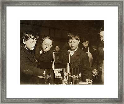 Woodworking Class, 1910 Framed Print by Granger
