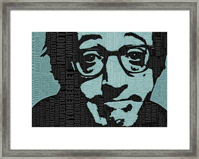 Woody Allen And Quotes Framed Print