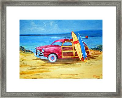 Woody On The Beach Framed Print