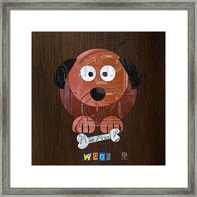 Woof The Dog License Plate Art Framed Print by Design Turnpike