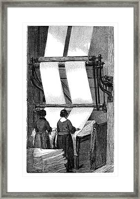 Wool Folding Machine Framed Print by Science Photo Library