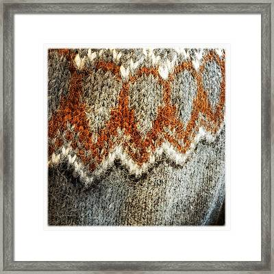 Woolen Jersey Detail Grey And Orange Framed Print