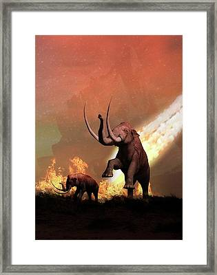 Woolly Mammoths And Meteor Framed Print by Victor Habbick Visions