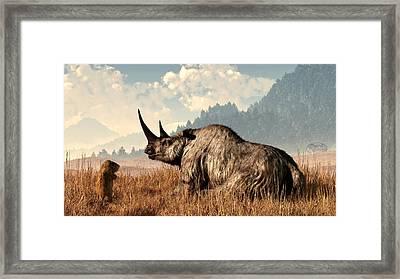 Woolly Rhino And A Marmot Framed Print by Daniel Eskridge