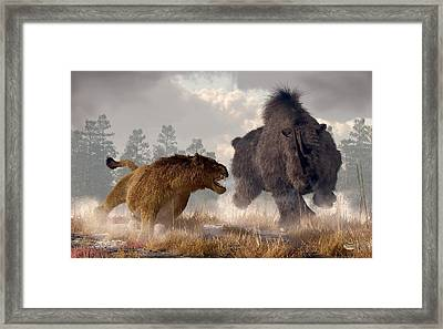Woolly Rhino And Cave Lion Framed Print by Daniel Eskridge