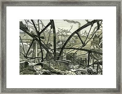 Woolwich Arsenal London 1887 Damage To The Mounting Shed Framed Print by English School