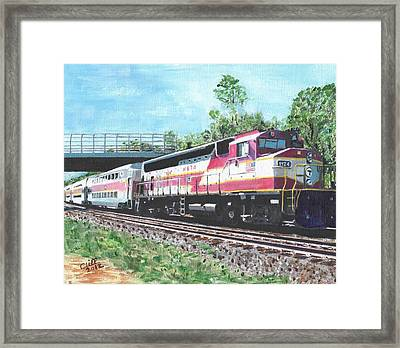 Worcester Bound T Train Framed Print