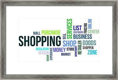 Word Cloud - Shopping Framed Print